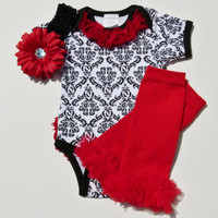 Baby Girl Gift Set Damask Red Onesuit With Chiffon Rosette Ruffle Butt