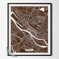 Bremen Print, Germany Street Map, Bremen Poster, Germany Map Print, Northwestern Germany, Room Decor, Modern Art, Street Map, Back To School
