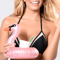 Hold My Drink Swan Mini Pool Float - Pink