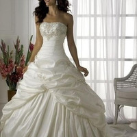 2014 Elegant Strapless Ruched Skirt Beaded Lace Up White Wedding Dresses Bridal Gowns Fast Shipping = 1932469892