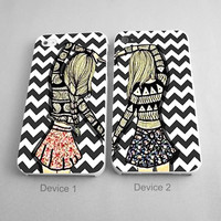 Chevron BFF Couples Phone Case iPhone 4/4S, 5/5S, 5C Series - Hard Plastic, Rubber Case