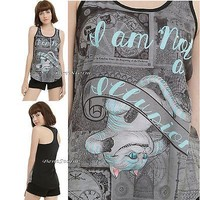 "Licensed cool DISNEY ALICE THROUGH THE LOOKING GLASS CHESHIRE CAT ""ILLUSION"" TANK TOP JRS. NEW"