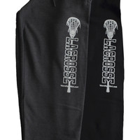 Lacrosse Sweatpant with pocket White Stretched Stick Logo
