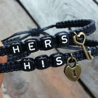 His and Hers Bracelets for Couples ,key lock , Set of 2 , Personalized Jewelry , Anniversary Gifts, Bridesmaid Bracelet