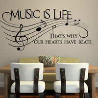 Music is Life Wall Decal Bedroom Wall Decals Stickers Art Decor Home Vinyl Lettering Wall Decals