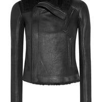 Rick Owens - Blister shearling-trimmed brushed-leather biker jacket