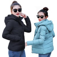 Trendy Winter Jacket 2018 Winter  women Plus Size Womens Parkas Thicken Outerwear solid hooded Coats Short Female Slim Cotton padded basic tops AT_92_12