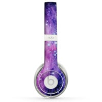The Purple and Blue Scattered Stars Skin for the Beats by Dre Solo 2 Headphones
