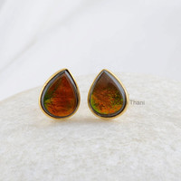Ammolite Micron Gold Plated Sterling Silver Stud Earring, Stud Jewelry, Pear 7x10mm Earring - #1675