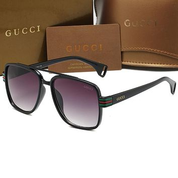 Gucci GG hot sale fashion men's and women's sunglasses, beach glasses, anti-ultraviolet glasses, driving reflective glasses