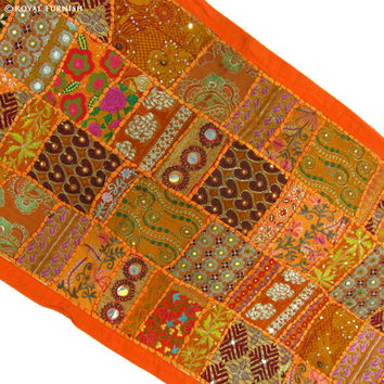 Orange Antique India Handmade Vintage Fabric Patchwork Tapestry Wall Hanging