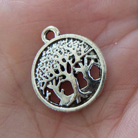 8 Tree charms, tree of life charm, tree pendant, keychain charms, forest charms, nature charms, 3 trees, family tree, tree in circle - F362