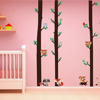 cik1665 Full Color Wall decal bedroom children's room decor Custom Baby Nursery on bed baby tree nusery decal tree forest animals