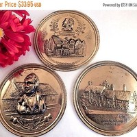 """Hammered Brass Wall Hanging Relief Discs Set of Three English Cottage Scene Shakespeare Robert Burns Anne Hathaway 5 1/2"""" Made in England"""