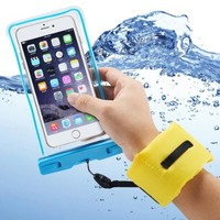 Accmor Waterproof Case with Floating Wrist Strap for Smart Phones, Blue Case/Yellow Strap