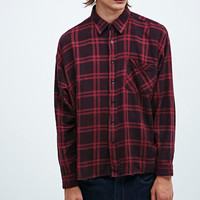 Urban Renewal Vintage Customised Plaid Flannel Shirt in Port - Urban Outfitters
