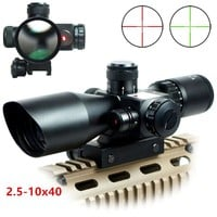 Tactical 2.5-10x40 Riflescope Green Red Dual Illuminated Rifle scope and Red Dot Laser Sight Hunting Scope