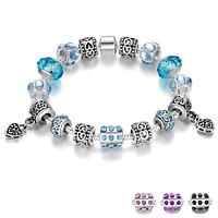 Crystal Charm Bracelet With Murano Glass Beads