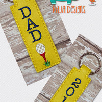 Dad golf key chain, embroidered, keychain, key fob, keyfob, embroidery, gift, stocking stuffer, party favor, grab bag, fathers day, father