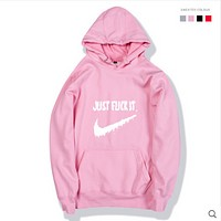 Nike just fuck it funny funny hooded sweater male cotton hooded jacket hoodie Pink