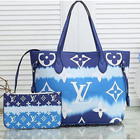 LV Louis Vuitton large-capacity women's fashionable all-match shopping bag two-piece