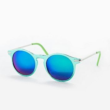River Round Revo Sunglasses in Green - Urban Outfitters