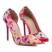 Sweet Women's Pumps With Pointed Toe and Floral Print Design # 20202