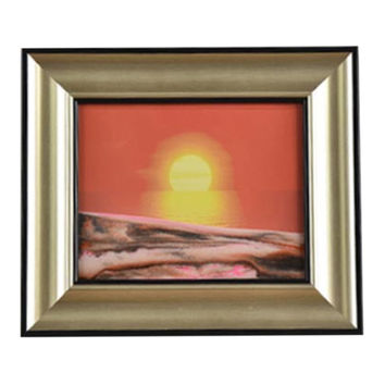 3D Artisitc Moving Sand Glass Art Picture Frame Wall Hanging   red sun rises from the east