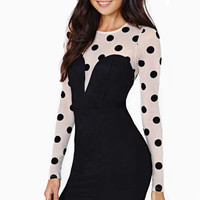Black Full Sleeve Bodycon Mini Dress White Bodice Polka Dot