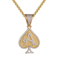 Silver Ace of Spade Poker Playing Card Icy Pendant Chain