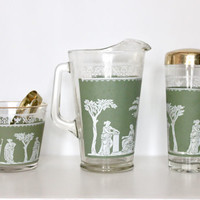 Vintage Mid Century Jeannette Glass Green Grecian Hellenic Bar Set | Cocktail Shaker, Ice Bucket w/ Tongs, Pitcher Barware Gift
