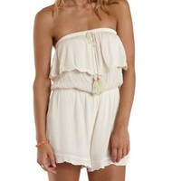 Ivory Crochet-Trim Strapless Flounce Romper by Charlotte Russe