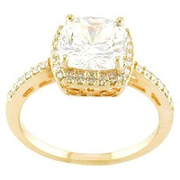 14k Gold Plated White CZ Square Ring Gld