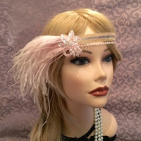 1920's inspired flapper white mauve pink sequin pearl iridescent headband ostrich feather adjustable 1920s head headpiece beaded (681)