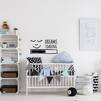Dreams Wall Decals for Walls - Dreams Loading Wall Decal Kids Above Crib Decor - Sleeping Baby Nursery Wall Decal Quote Childrens Decor