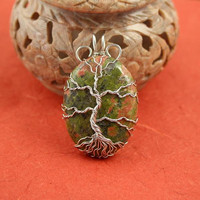 Unakite Tree of Life silver-plated wire-wrapped pendant