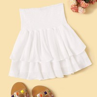Solid Shirred Waist Layered Ruffle Skirt