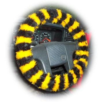 Busy Bumble Bee striped fuzzy faux fur car steering wheel cover