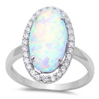 A Perfect 10CT Cabochon Australian White Opal Engagement Ring
