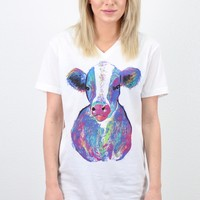 Watercolor Confetti Cow Tee {White}