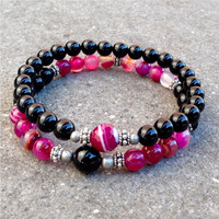 Healing and Patience, onyx and pink agate mala bracelet stack