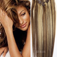 """16"""" 18"""" 20"""" 22"""" 24"""" 26"""" 28""""  7pcs Set 100% Brazilian Remy Hair clips In/on Human Hair Extensions #4/613 70g 80g 100g 120g 140g"""