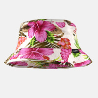 Hibiscus Pink White Bucket Hat