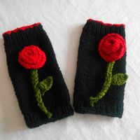 Black Knit Gloves, Mittens,Gloves Black Tigis,Wrist Warmer,Floral Gloves,Handmade,Knit Glove,Christmas Gifts, Black Red Gloves