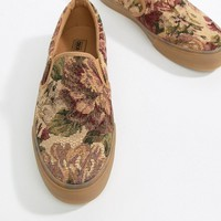 ASOS DESIGN Slip On Sneakers In Floral Tapestry With Gum Sole at asos.com