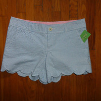 NWT LILLY PULITZER FLUTTER BLUE LUCKY SEERSUCKER BUTTERCUP SHORT 8