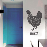 ik2842 Wall Decal Sticker chicken meat chicken cutting food restaurant shop