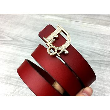 Dior Tide brand simple wild female letter button belt Red
