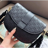 GUCCI New fashion more letter leather shoulder bag crossbody bag Black