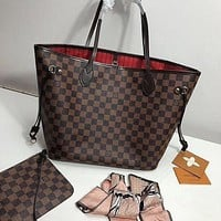 Louis Vuitton LV Neverfull Monogram Canvas Handbag Shoulder Bag Two-Piece Set